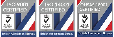 ISO 9001 Certified, ISO 14001 Certified, OHSAS 18001 Certified